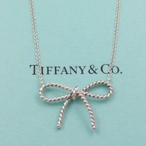 Tiffany & Co Sterling Twisted Rope Bow Necklace
